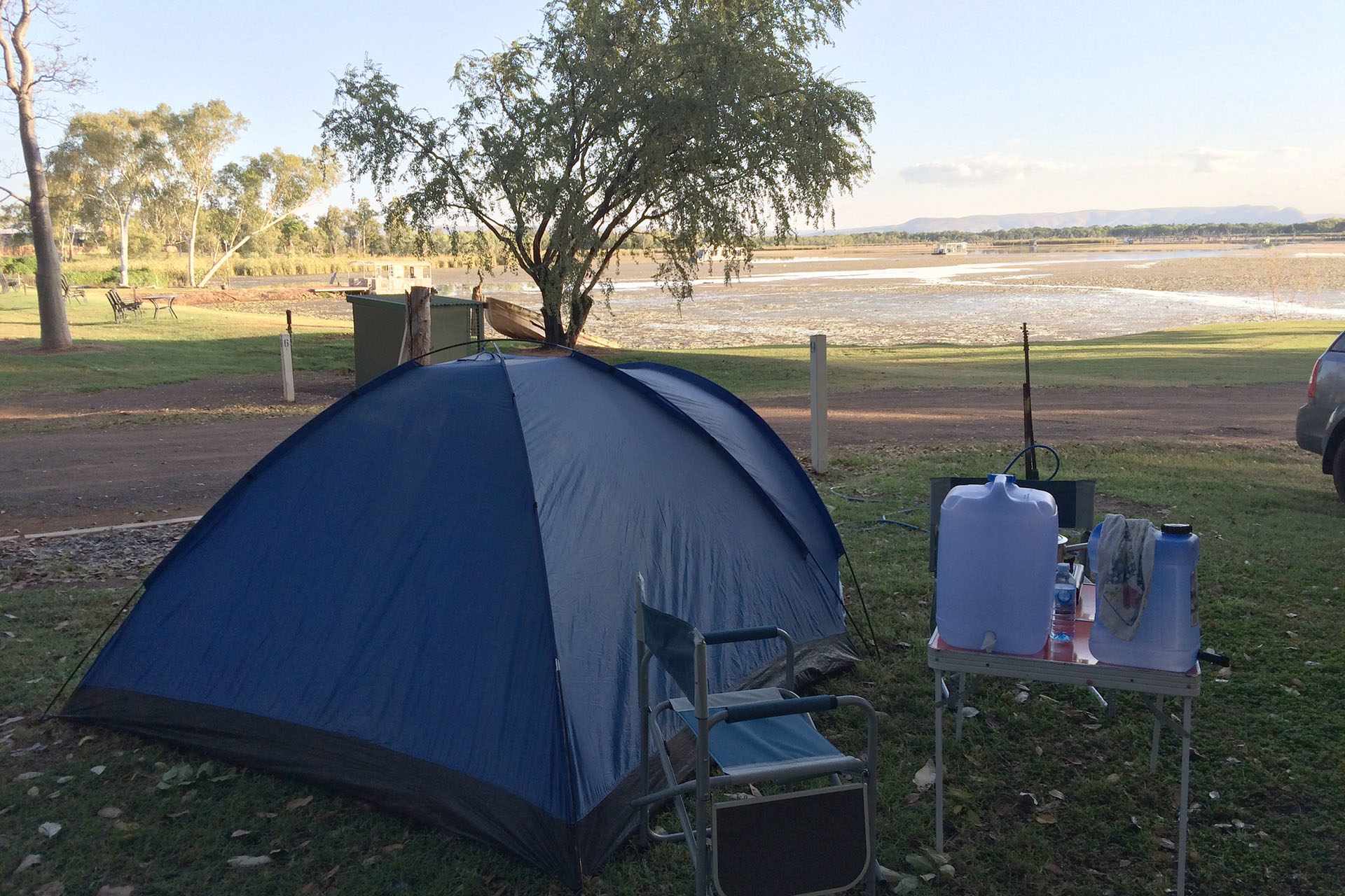 Today's camp on the bank of the Ord River.