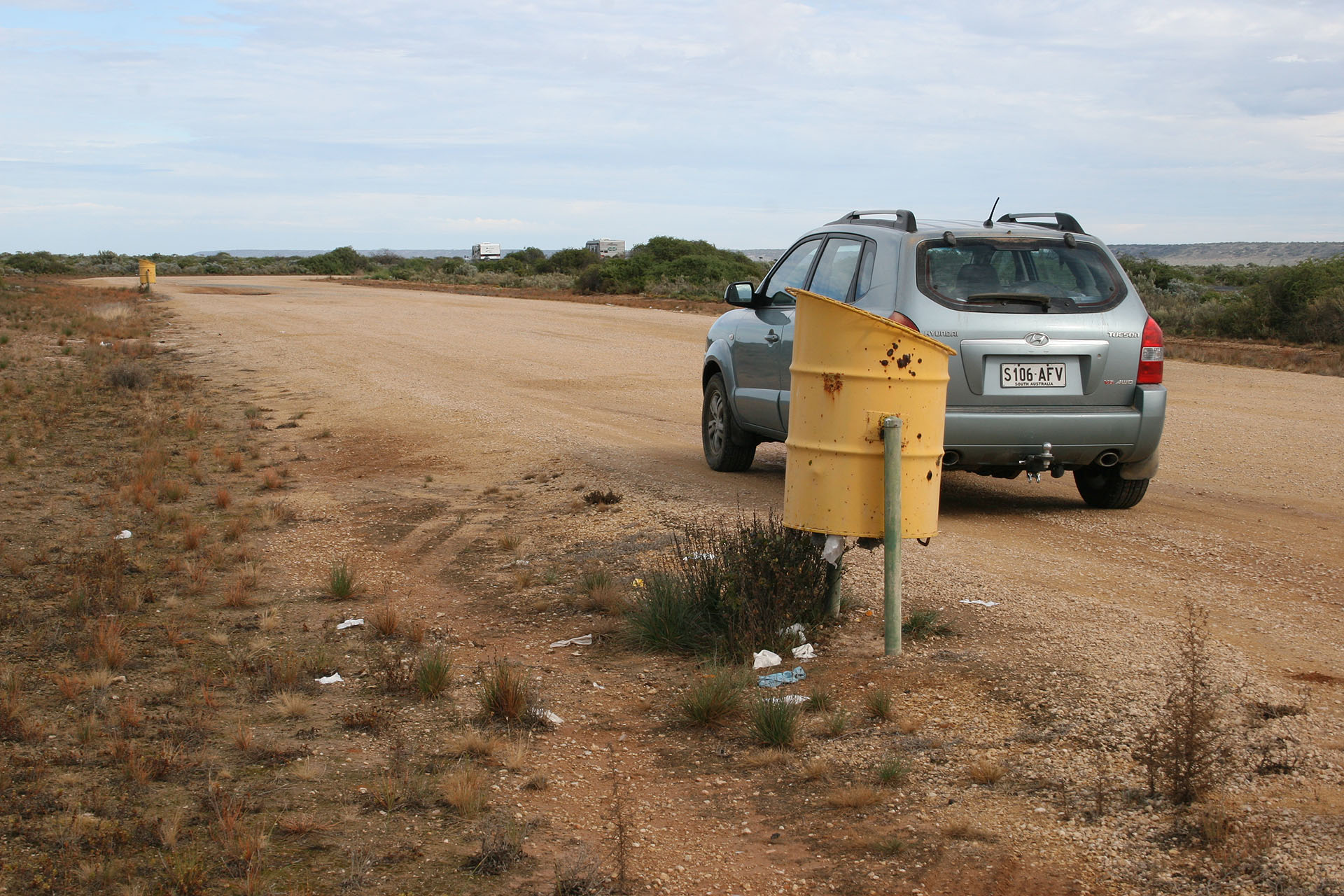 Western Australian rest area; the bins are bright yellow now.