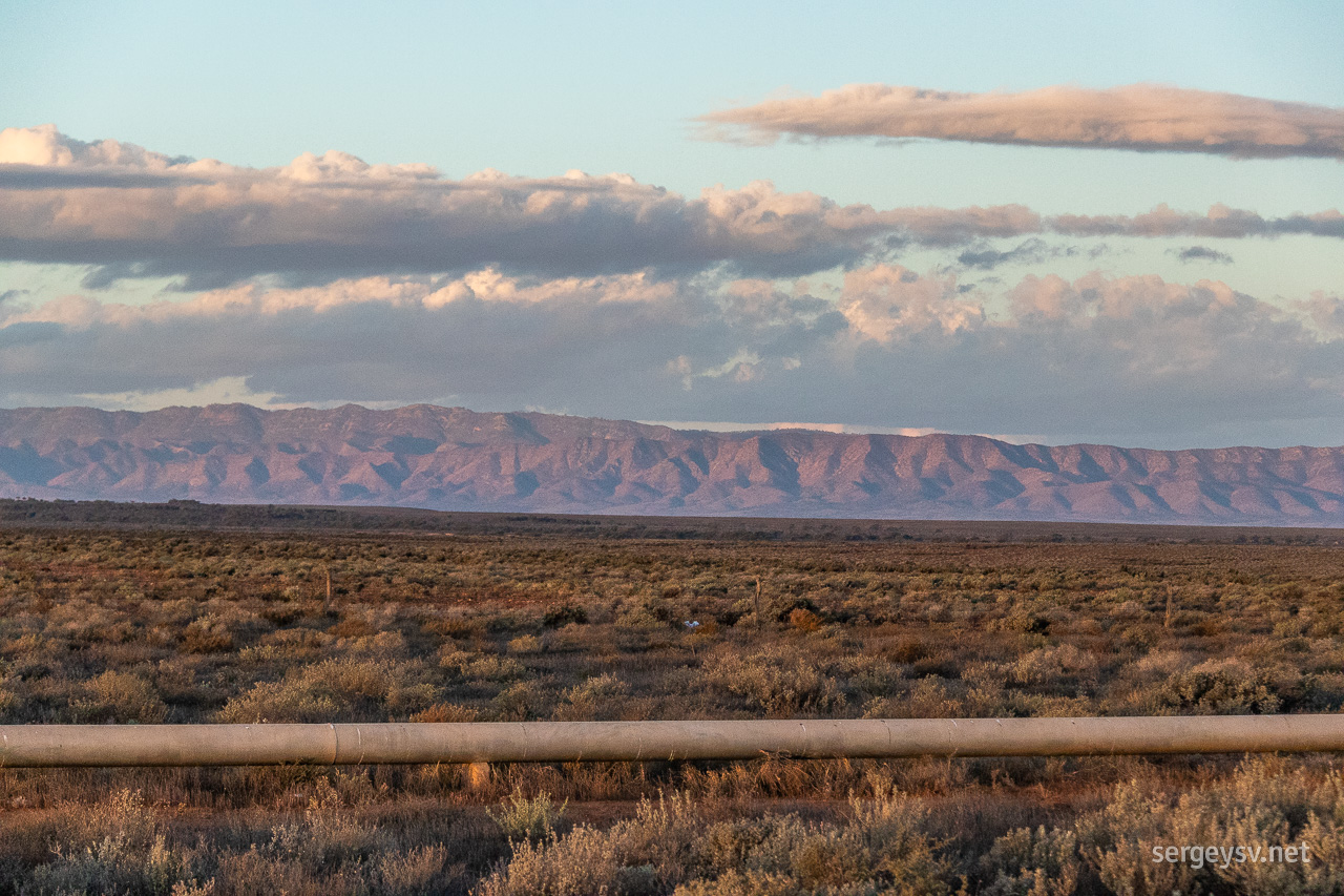 The Flinders Ranges and the water pipe.